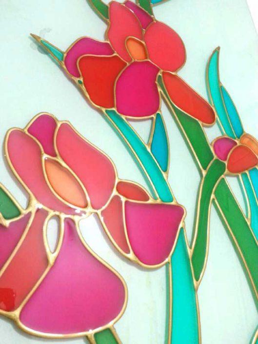 نقاشی روی شیشه طرح گل با دورگیر طلایی