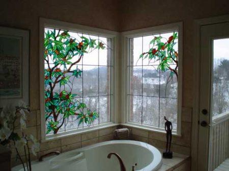 نقاشی روی شیشه حمام