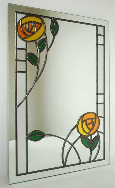 نقاشی گل ویترای روی آینه