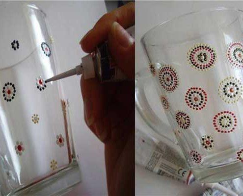 نقاشی نقطه ای روی لیوان