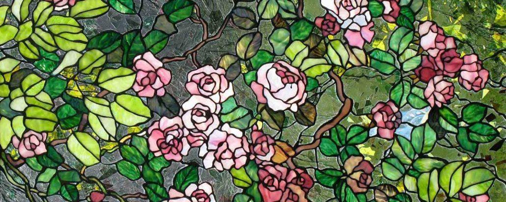 شیشه رنگی مدرن نقاشی شده گل